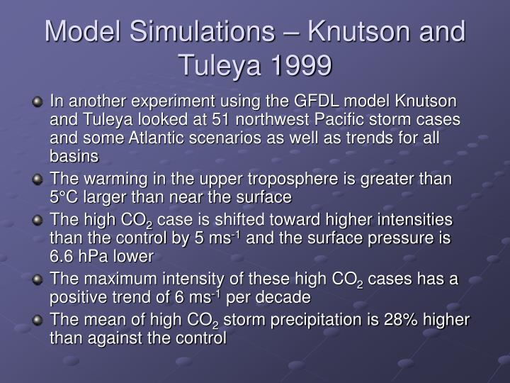 Model Simulations – Knutson and Tuleya 1999
