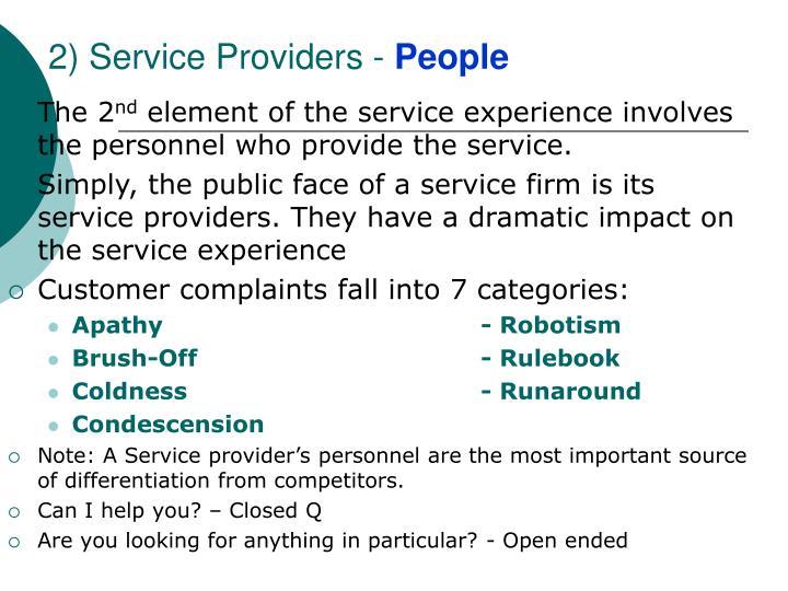 2) Service Providers -