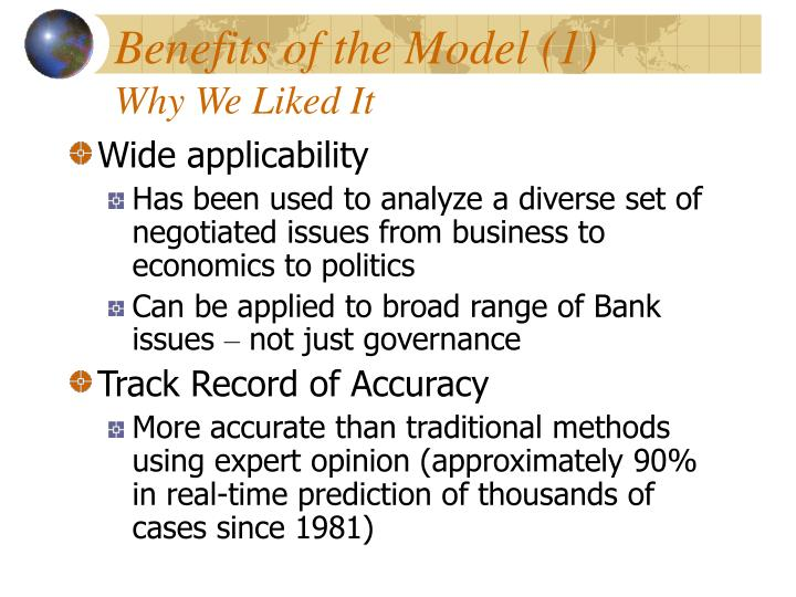 Benefits of the Model (1)