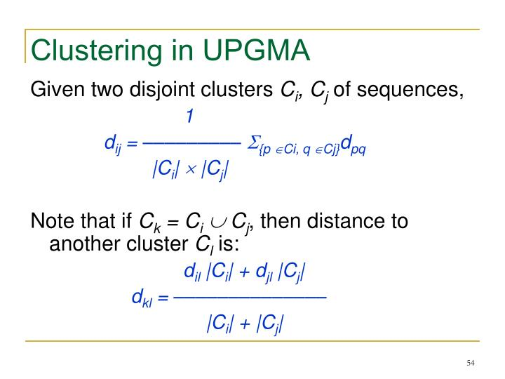Clustering in UPGMA