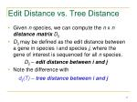 edit distance vs tree distance