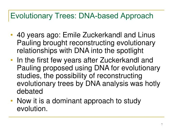 Evolutionary Trees: DNA-based Approach