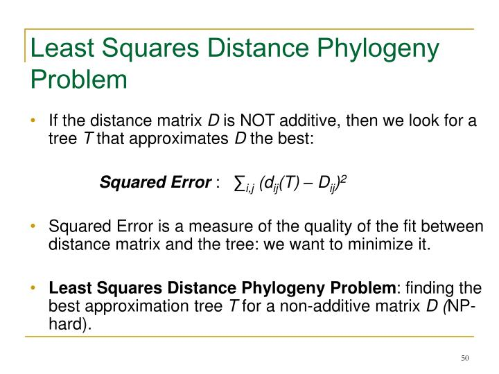 Least Squares Distance Phylogeny Problem