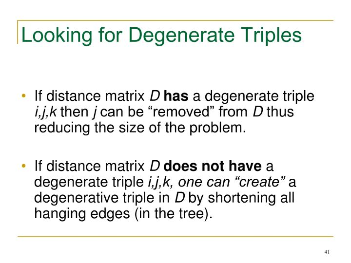 Looking for Degenerate Triples
