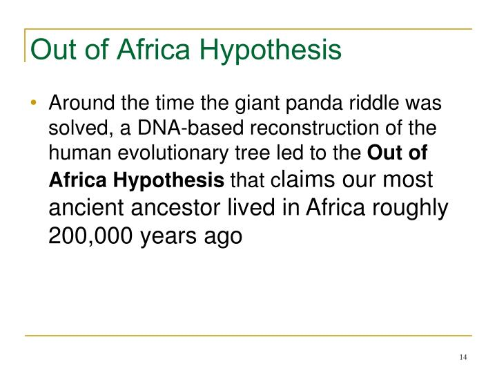 Out of Africa Hypothesis
