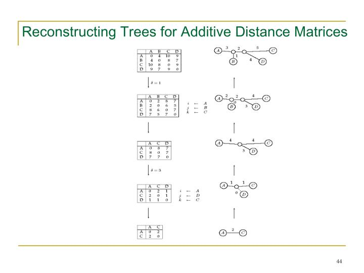 Reconstructing Trees for Additive Distance Matrices