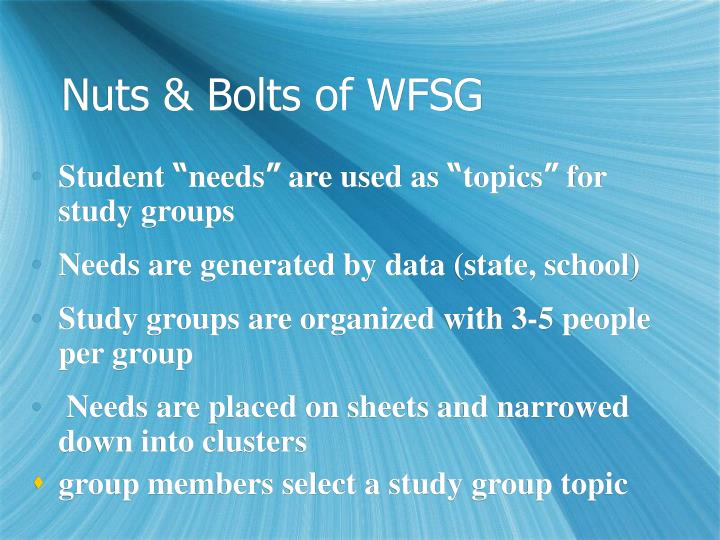 Nuts & Bolts of WFSG