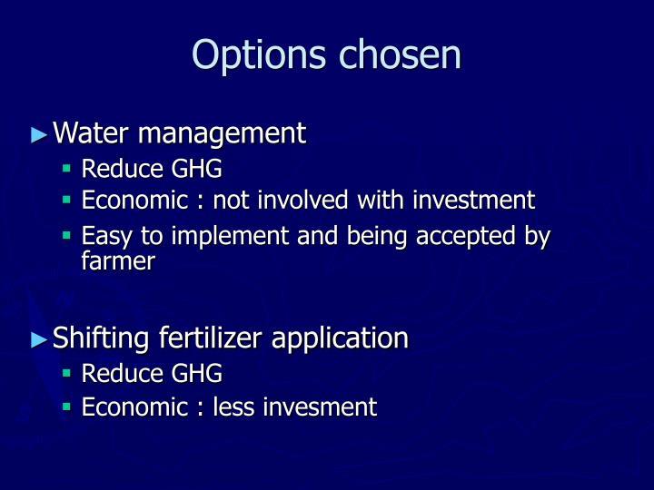 Options chosen