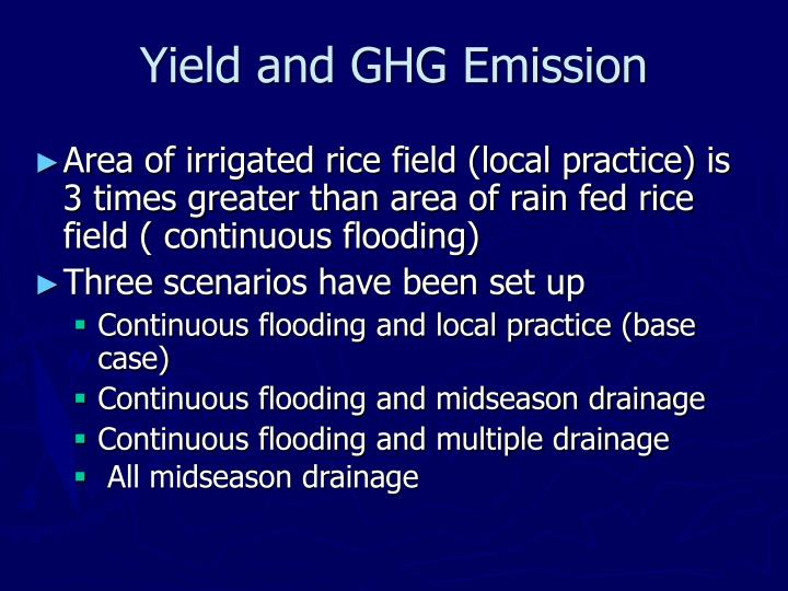 Yield and GHG Emission