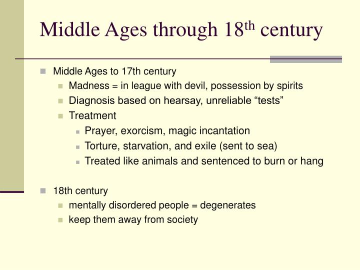 Middle Ages through 18