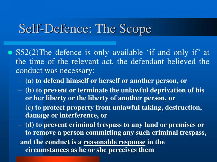 Self-Defence: The Scope