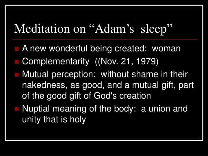 """Meditation on """"Adam's  sleep"""""""