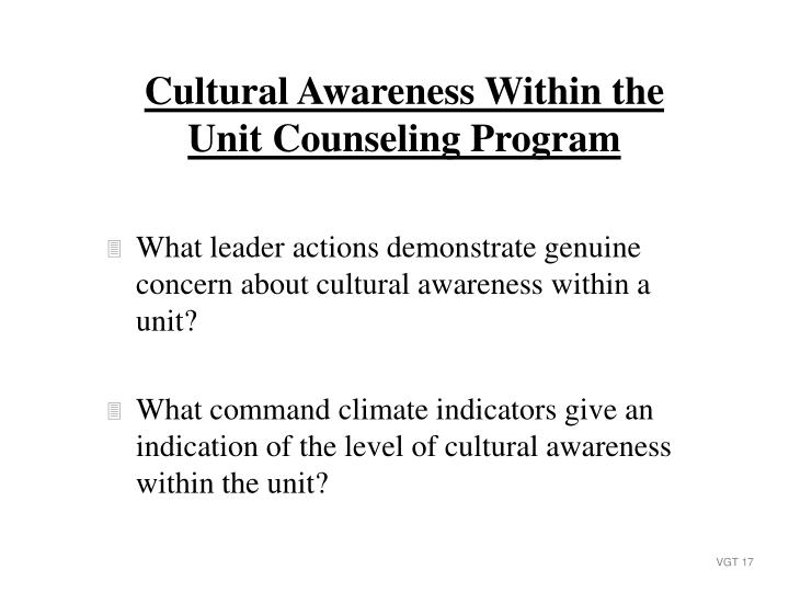 What leader actions demonstrate genuine concern about cultural awareness within a unit?