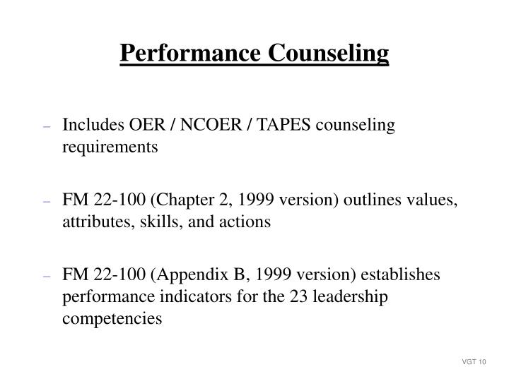 Includes OER / NCOER / TAPES counseling requirements