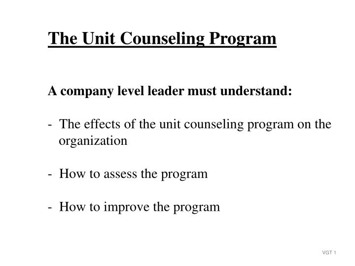 The Unit Counseling Program