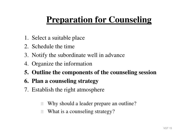 Preparation for Counseling