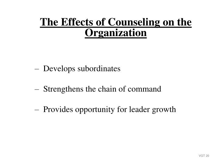 The Effects of Counseling on the Organization