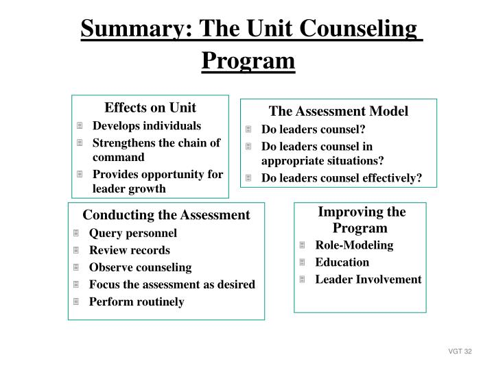 Summary: The Unit Counseling