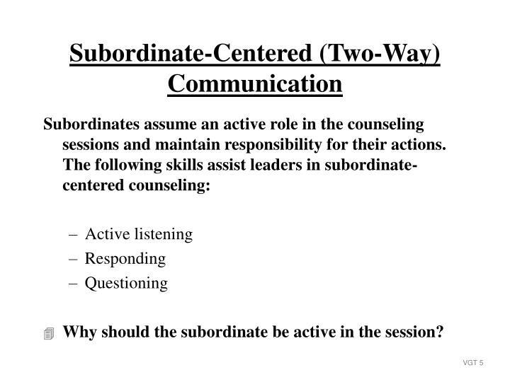 Subordinates assume an active role in the counseling sessions and maintain responsibility for their actions.  The following skills assist leaders in subordinate-centered counseling: