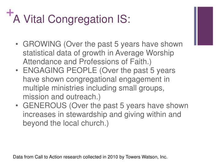 GROWING (Over the past 5 years have shown statistical data of growth in Average Worship Attendance and Professions of Faith.)