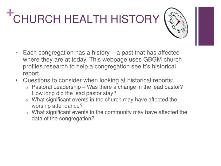 Each congregation has a history – a past that has affected where they are at today. This webpage uses GBGM church profiles research to help a congregation see it's historical report.
