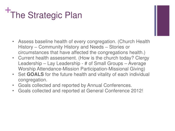 Assess baseline health of every congregation. (Church Health History – Community History and Needs – Stories or circumstances that have affected the congregations health.)