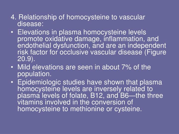 4. Relationship of homocysteine to vascular disease: