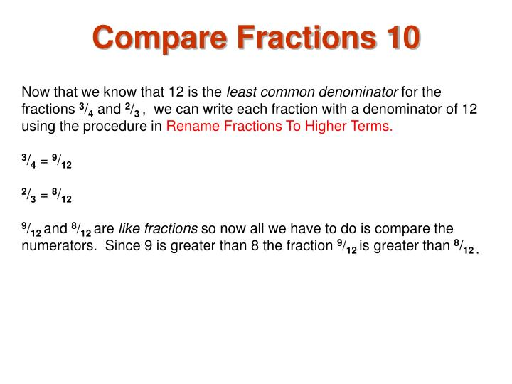 Compare Fractions 10