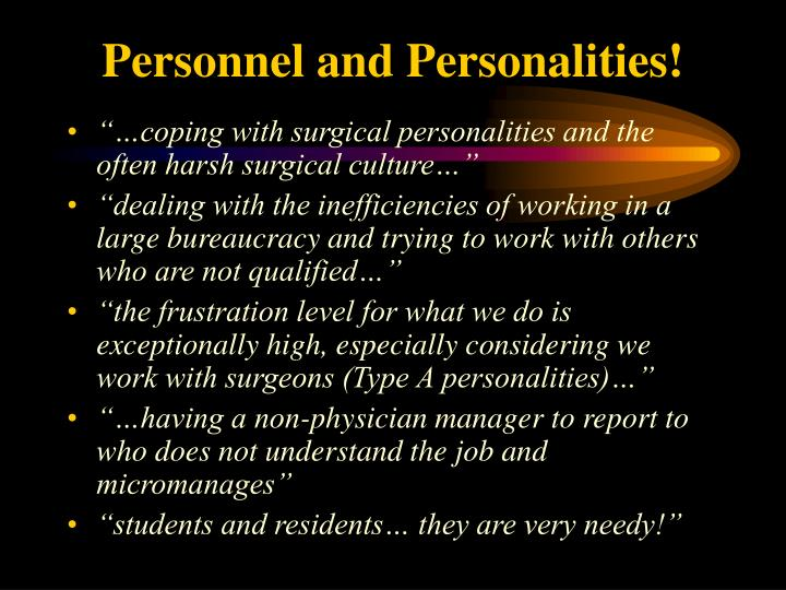 Personnel and Personalities!