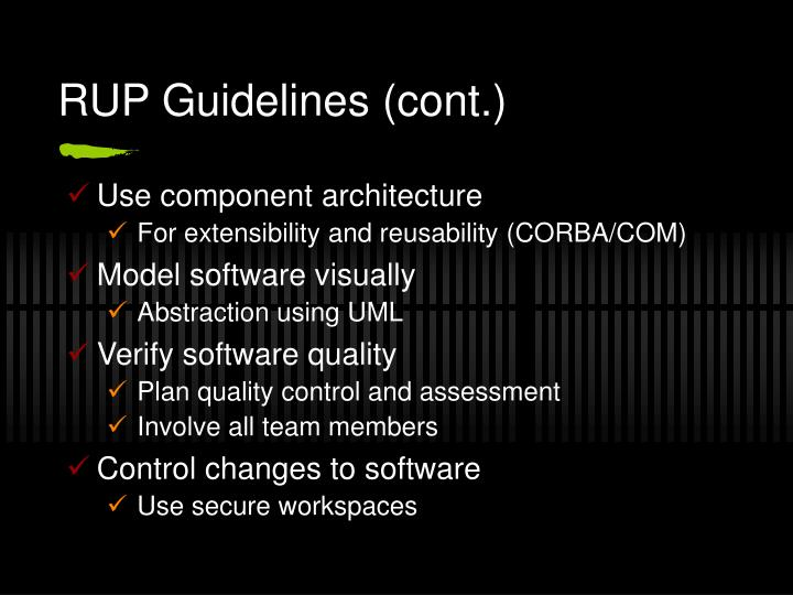 RUP Guidelines (cont.)