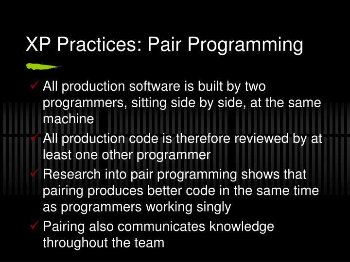 XP Practices: Pair Programming