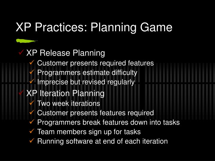 XP Practices: Planning Game