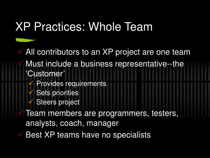 XP Practices: Whole Team