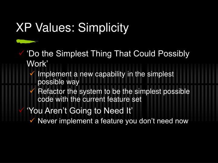 XP Values: Simplicity
