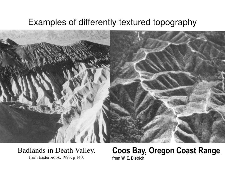 Examples of differently textured topography
