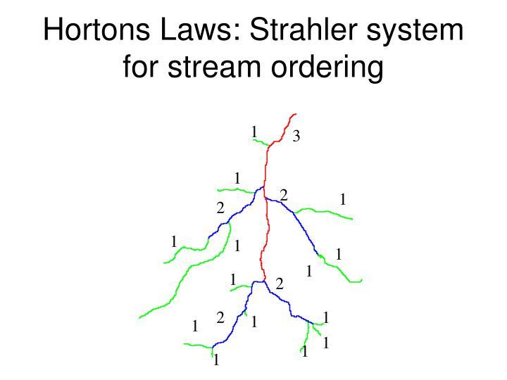 Hortons Laws: Strahler system for stream ordering