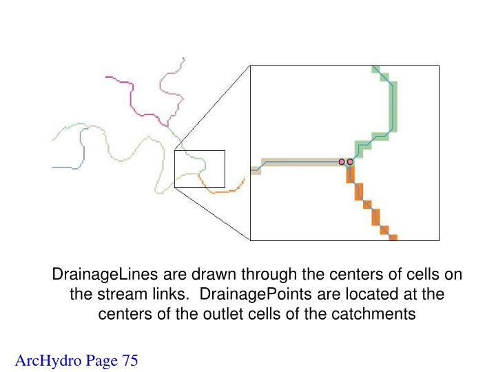 DrainageLines are drawn through the centers of cells on the stream links.  DrainagePoints are located at the centers of the outlet cells of the catchments