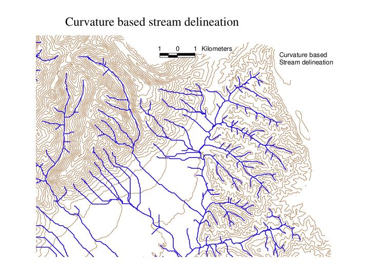 Curvature based stream delineation