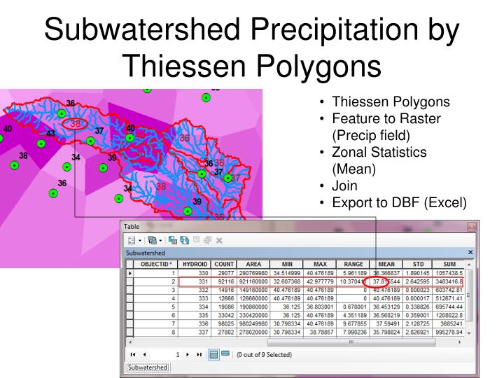 Subwatershed Precipitation by Thiessen Polygons