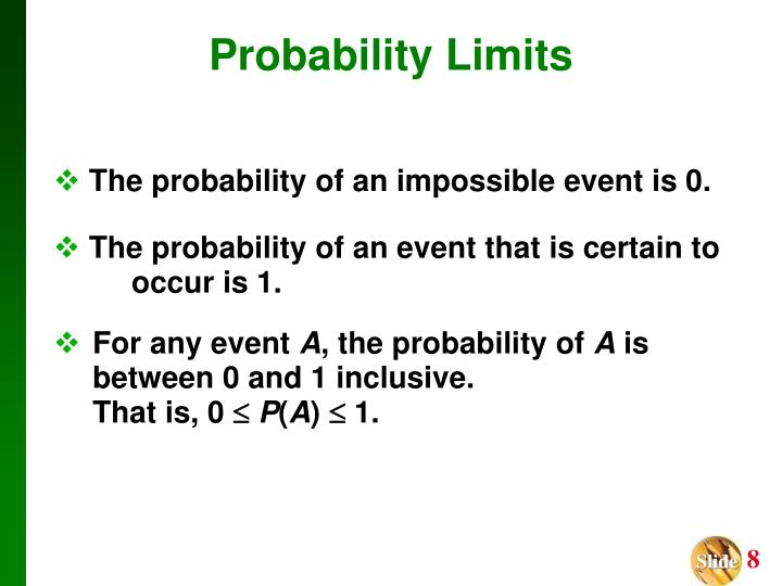 The probability of an event that is certain to 			occur is 1.