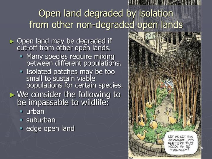 Open land degraded by isolation