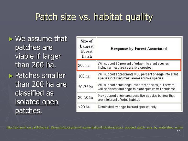 We assume that patches are viable if larger than 200 ha.