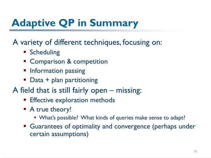 Adaptive QP in Summary