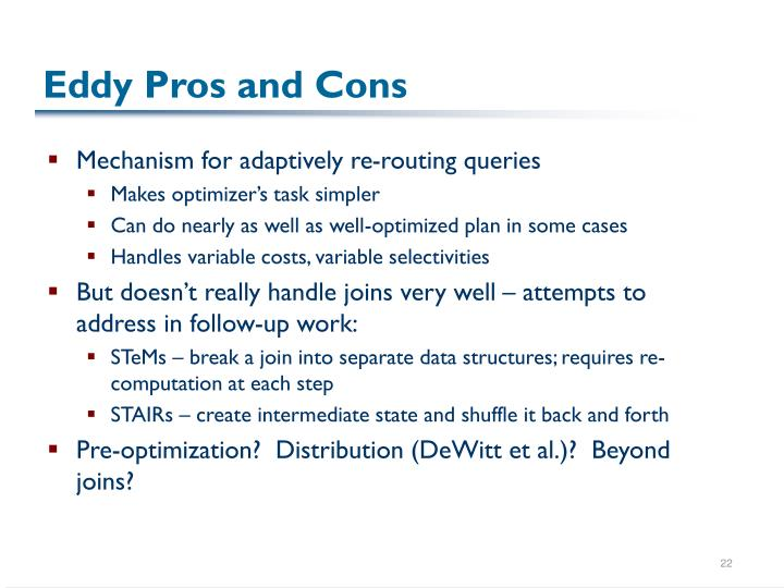 Eddy Pros and Cons