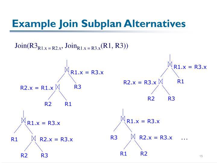 Example Join Subplan Alternatives