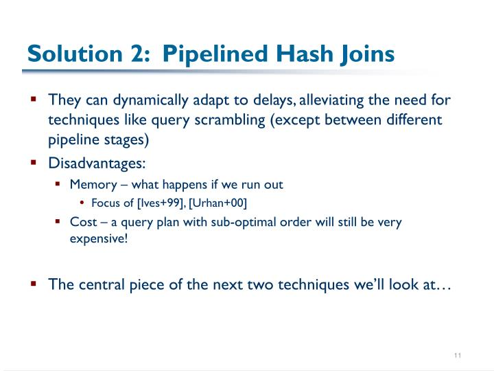 Solution 2:  Pipelined Hash Joins