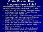 c war powers does congress have a role
