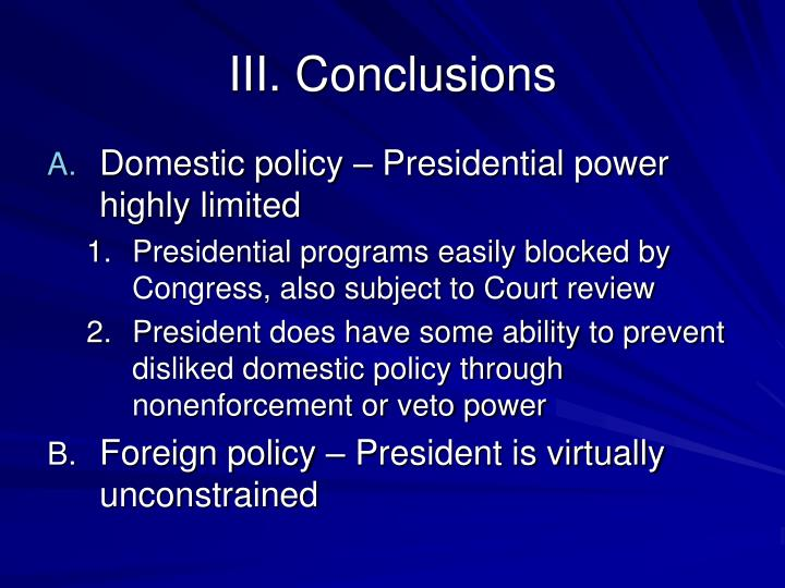 III. Conclusions