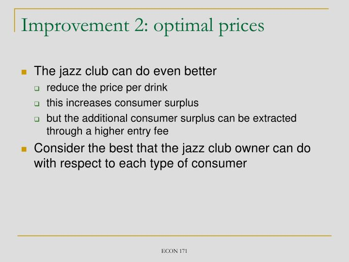Improvement 2: optimal prices