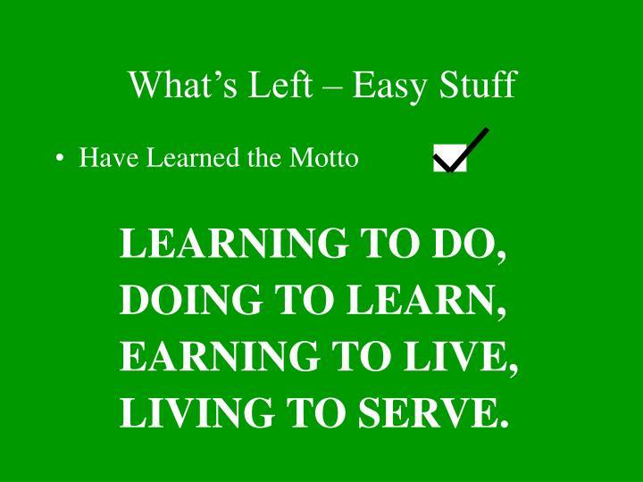What's Left – Easy Stuff